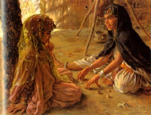 A Game of Krouta  by Etienne Dinet of two Ouled Nail girls the one on the right is wearing a burnous le jeu de la krouta