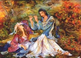 Persian Miniature: Representing Nature entwined with Heaven. Nature encompasses all, the backdrop and the foreground. The flute and mist are metaphors suggesting an exalted and Heavenly Order, enveloping the couple . A young man plays the flute, in the company of a swooning maiden; the power of the musical notes intoxicate her, while an ethereal mist appears to be moving over the man's head towards the female's, where it settles. The swirling plants have been aroused by the same Lofty cadence emanating from the flute, left untouched by the mist also. The gathered Leafs at her feet indicate a kind of Human grandeur and elevation. But above all, the piece is an example of Harmony, conveyed through the multi-elements of the composition, existing deep in Nature, inter-connected in a state of transcendence.